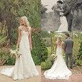 2016 sirena del cordón del vestido de boda Vintage con mangas Cap vestidos de boda tribunal tren por encargo vestidos boda de Boho