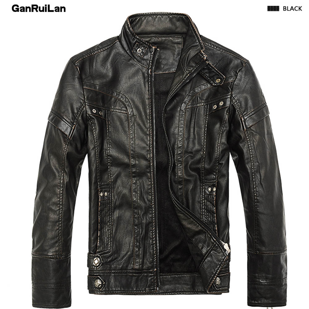 2018 Autumn Winter Motorcycle PU Leather Men Jacket Stand Collar Thick Male Jackets Outwear Coat Faux Leather Coats B0268