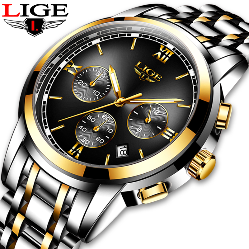 <font><b>LIGE</b></font> New Luxury Luminous Watches Men Waterproof Stainless Steel Analogue Wrist Watch Chronograph Date Quartz Watch Montre Homme image