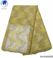BEAUTIFICAL nigerian lace fabrics gold and yellow tulle lace wedding decoration lace stones sewing lace fabric ML4N660