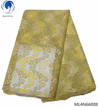 BEAUTIFICAL nigerian lace fabrics gold and yellow tulle wedding decoration stones sewing fabric ML4N660