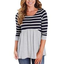 Dollplus Maternity Shirt Tops Pregnant Women Clothing Fashion Striped Pregnant Women's T-shirt Pregnancy Maternity Clothing