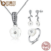 BAMOER Genuine 925 Sterling Silver White Flower Luminous Florals Mother Of Pearl Jewelry Sets Sterling Silver