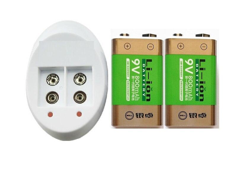 NEW 2PC 800 mAh SUPER BIG 9 v li-ion lithium 9 Volt Batterie Hersteller garantie+9 V charger