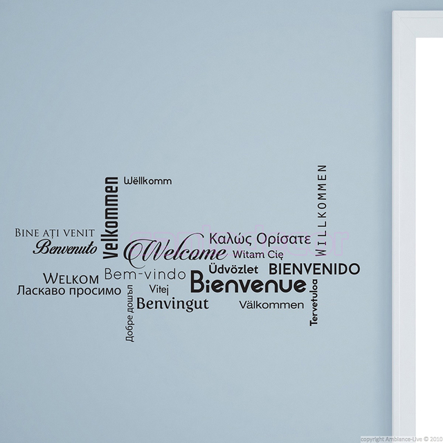 Spanish french multi language welcome vinyl wall stickers wall decal art home decor house for Living room in french language