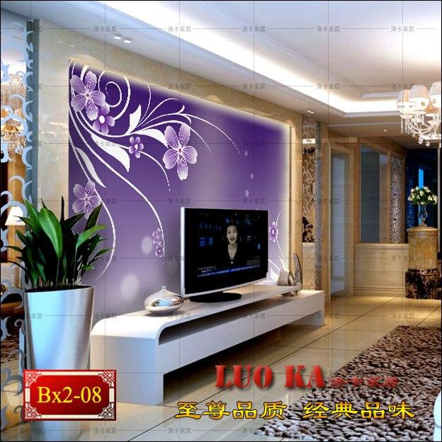 Purple wallpaper TV wall background wallpaper murals 3d stereo TV backdrop wallpaper wallpaper mural