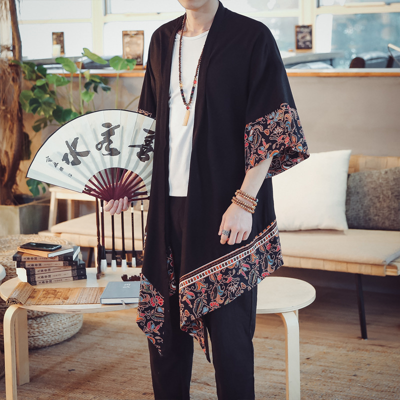 Cotton Linen Long Cardigan Trench Coat Men Spring Autumn Summer Fashion Casual Loose Thin Kimono Jacket Overcoat Men's Clothing