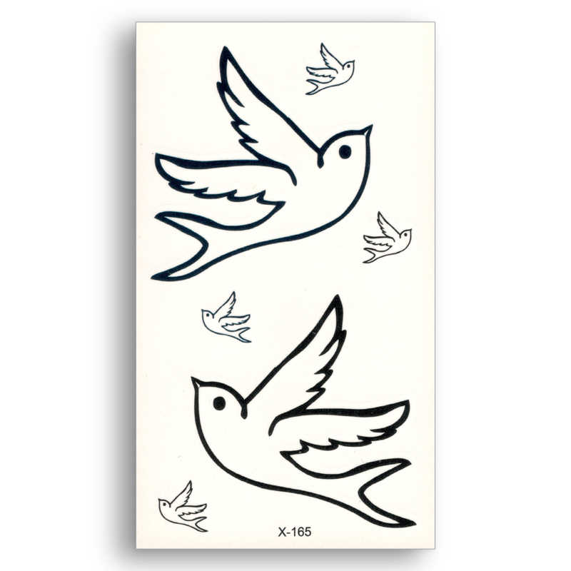 Fake temporary waterproof tattoo Water Transfer Black lines bird peace pigeon Men Women Beauty Sexy Body Art Makeup X165