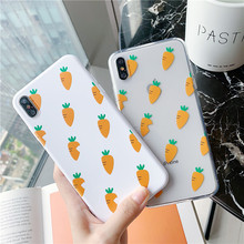 Cute Carrot Phone Cases For iphone 8 7 6 6S Plus Coque Soft Clear TPU Funny Lovely Back Cover For iphone X XS Max XR Case Fundas lovely heart liquid silicone back cover for iphone 6 6s 7 8 plus x case soft tpu phone cases for iphone xr xs max case cover
