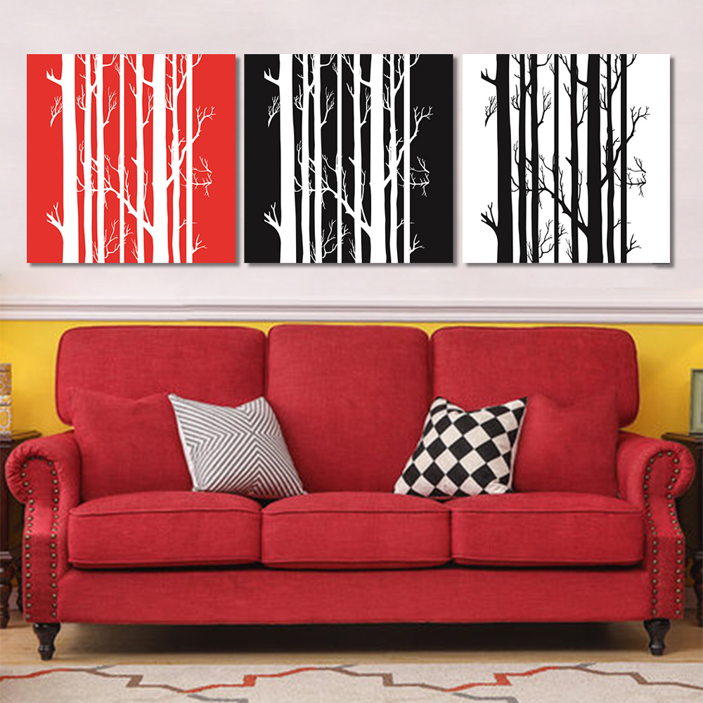 Unframed Multiple Pieces HD Canvas Painting Abstract Color Vertica Tree Prints Wall Pictures For Living Room Wall Art Decoration