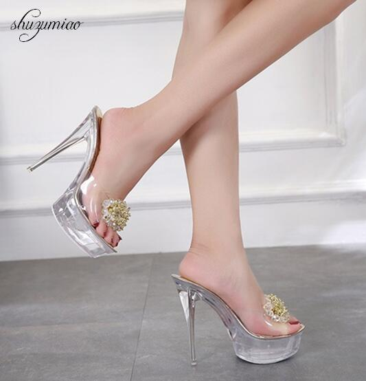Slope <font><b>sandals</b></font> High Quality rystal Transparent Diamond Wedges <font><b>Sandals</b></font> High heels 8.5cm Slope <font><b>Sandals</b></font> Female Summer <font><b>2018</b></font> <font><b>Sexy</b></font> Wome image