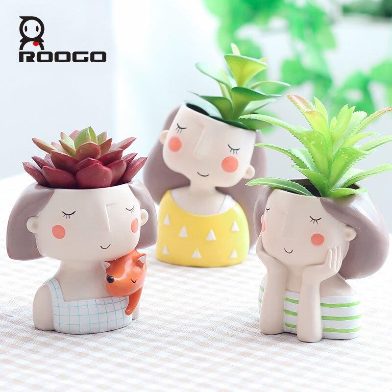 Image 2 - Roogo 4item Succulent Plant Pot Cute Girl Flower Planter Flowerpot Creat Design Home Garden Bonsai Pots Birthday Gift Ideas-in Flower Pots & Planters from Home & Garden