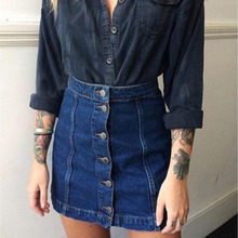 2018 New Summer Arrival Denim Skirts Front Button Package Skirt  Women Pencil Jeans For Ladies
