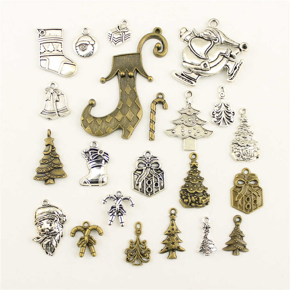10 pçs encantos para fazer jóias santa árvore sino presente cane acessórios peças criativo artesanal presentes de aniversário