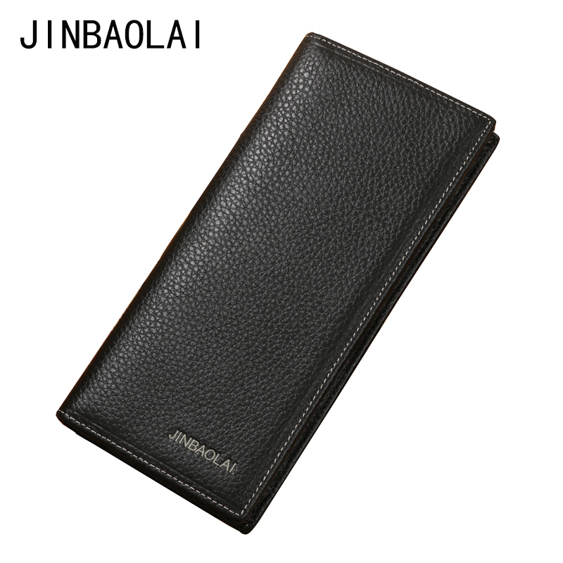 JINBAOLAI Men's Fashion Genuine Leather Men Wallet Designer Brand Mens Long Wallets For Money And Cards Holder Purse carteira original brand jinbaolai genuine leather men wallets business short solid hasp male card purse designer cow leather mens wallet