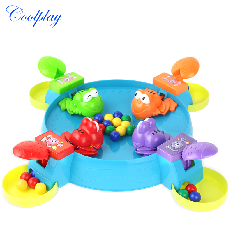 COOLPLAY Parent-child Interaction Toys Feeding Frog Swallow Beads Table Game Hungry Hippo Child Educational Toys Gift For Kids }