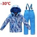 Crianças ski ternos definir meninos conjunto roupas térmicas espessamento 2 pcs little big boy waterprof windproof outerdoor roupas-30 grau