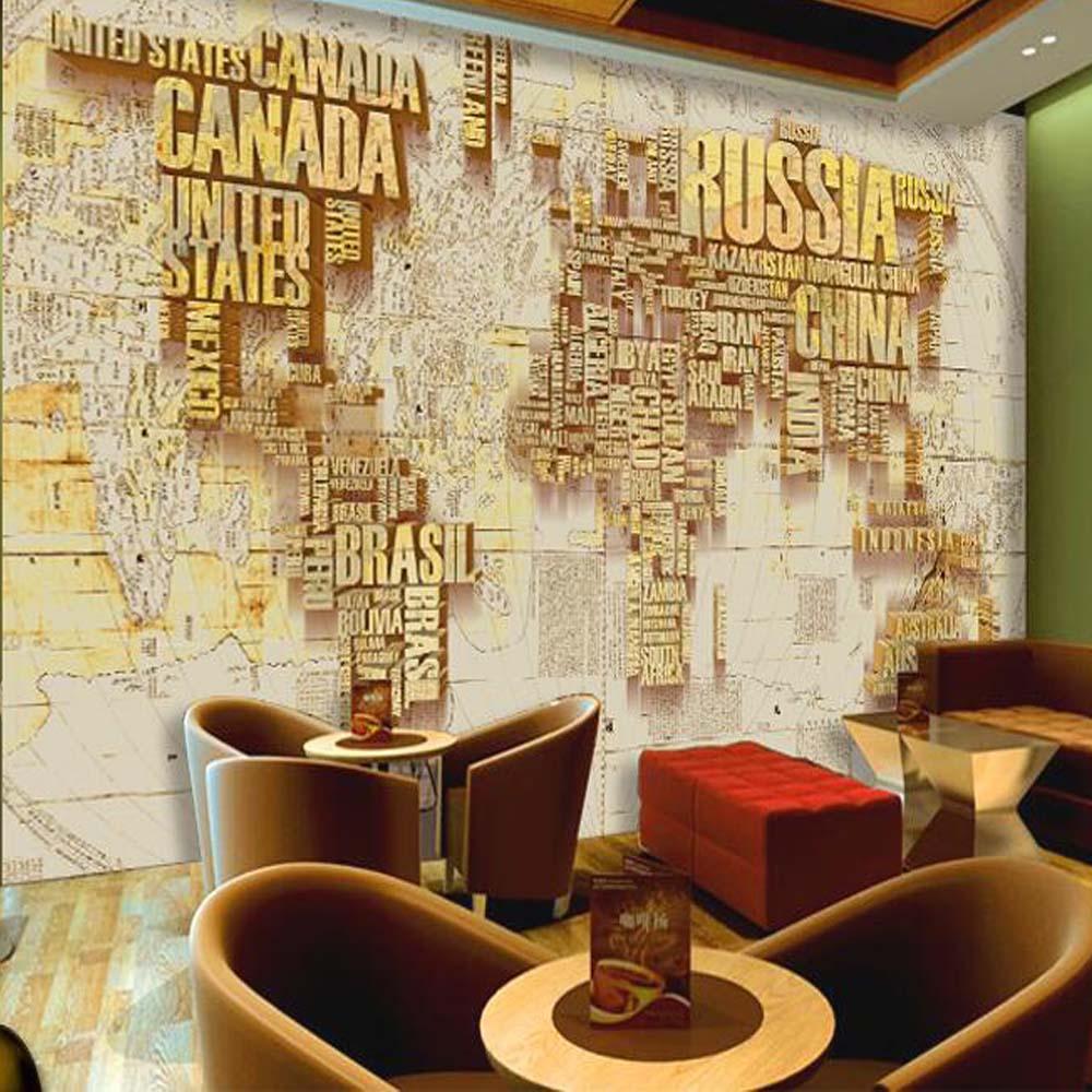 3d custom gold world map wallpaper murals for tv for Home wallpaper world map