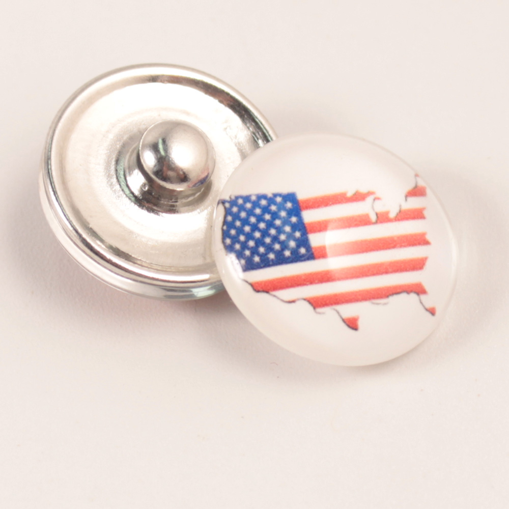 10pcs/lot New Snap Jewelry American flag 18MM Snap Buttons Vintage Glass Snap fit Snap Bracelet/necklace DIY Jewelry image
