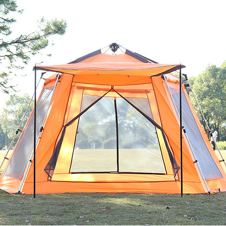 5-8 Person Automatic Hex Beach Tent High Quality Windproof Waterproof Outdoors Barraca Family Camping Gear Party Tente ZP69 high quality outdoor 2 person camping tent double layer aluminum rod ultralight tent with snow skirt oneroad windsnow 2 plus
