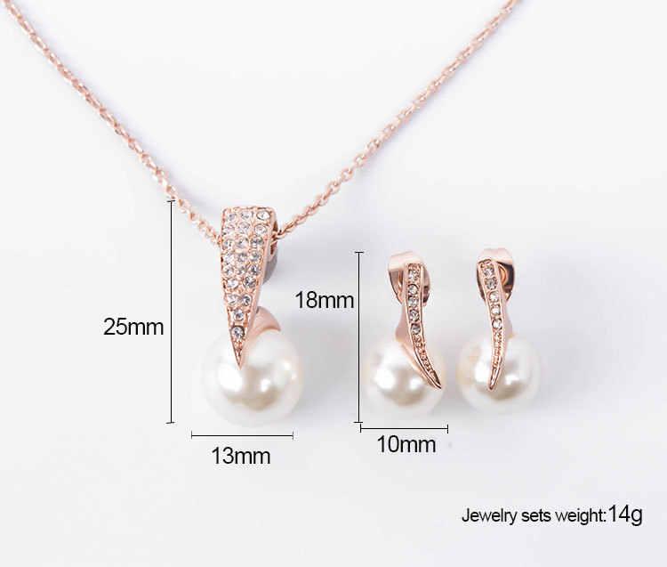 Cưới tiệc trọn gói trang sức thiết Rhinestone Simulated Trân necklace earrings