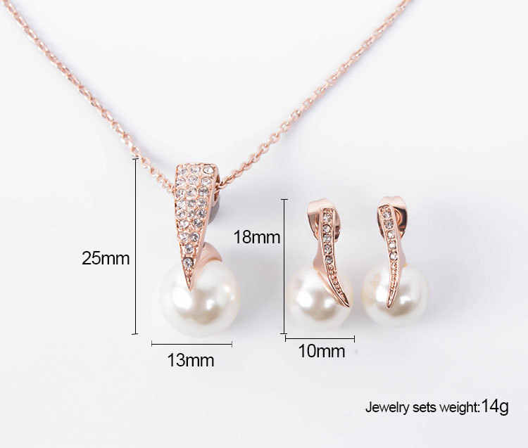 wedding banquet package jewelry sets Rhinestone Simulated Pearl necklace earrings
