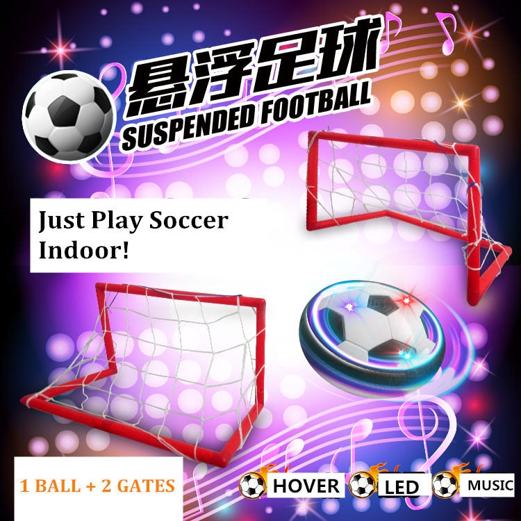 Flashing Hover Ball LED Light Musical Air Power Soccer Ball Disc Indoor Football And Gliding Toys 18CM ball With 2 Gate