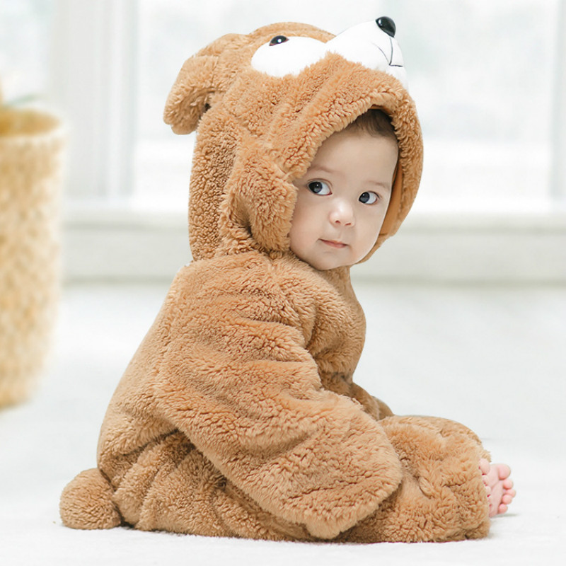 Boy Jumpsuit Padded Cotton Winter Clothes Baby Keep Warm Jumpsuit Cotton Cute Cartoon Bear Shape Baby Girls Romper Thickening new baby kids autumn winter warm cotton beanie hat toddler girls boys caps cute baby cartoon bear ear beanies 1pc f011