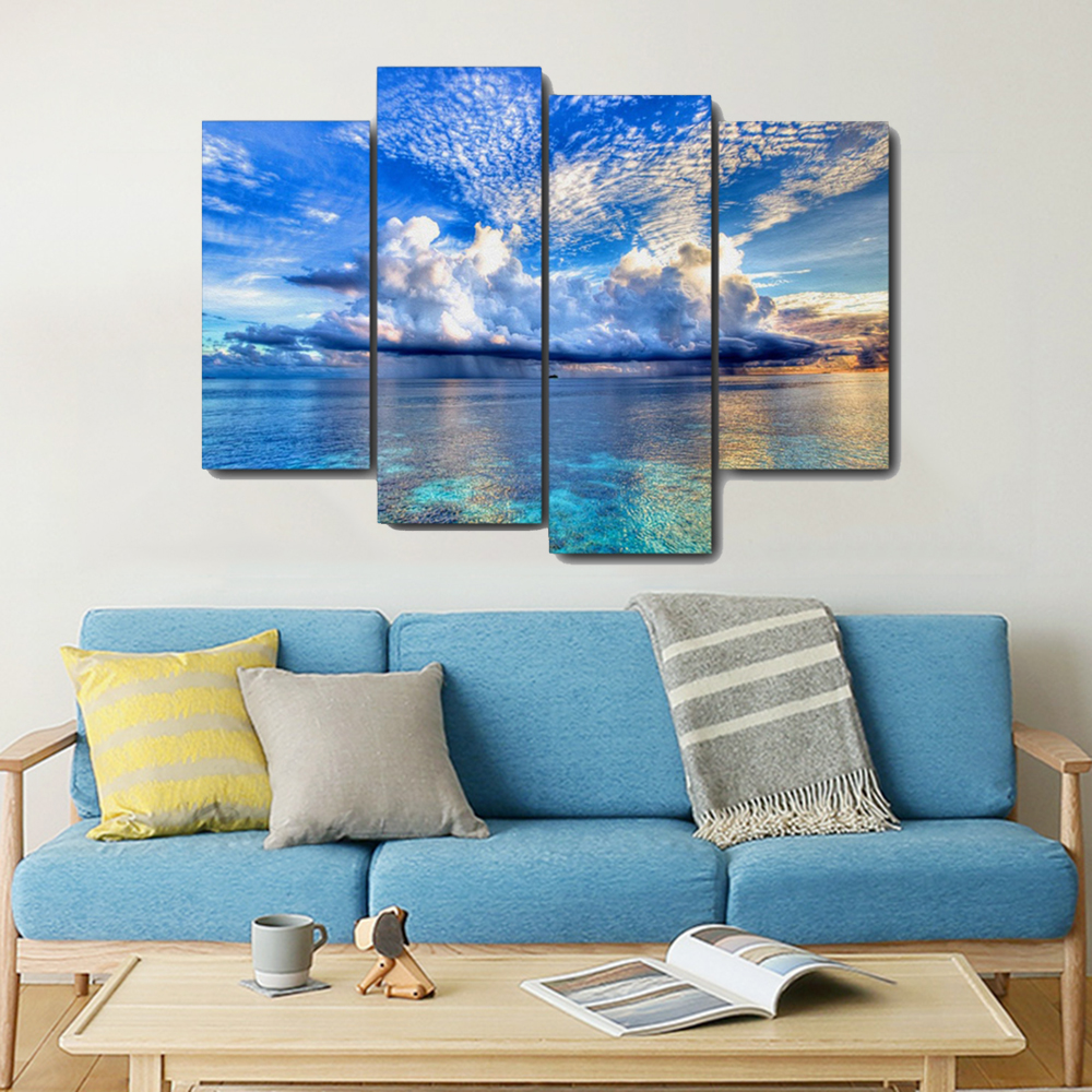 Clear Lake Blue Sky Scenery Canvas Painting Calligraphy Prints Home Decoration Wall Art Poster Pictures For Living Room Bedroom