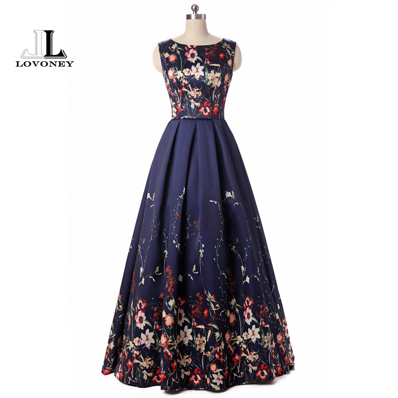 LOVONEY Long Evening Dresses 2019 Elegant Floral Print Fashion Evening Dress Formal Gown Party Dresses Lace