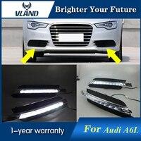2 шт. светодиодный Туман лампа для Audi A6 A6L C7 2012 2013 2014 2015 Белый светодиодный днем Бег свет Водонепроницаемый дневной