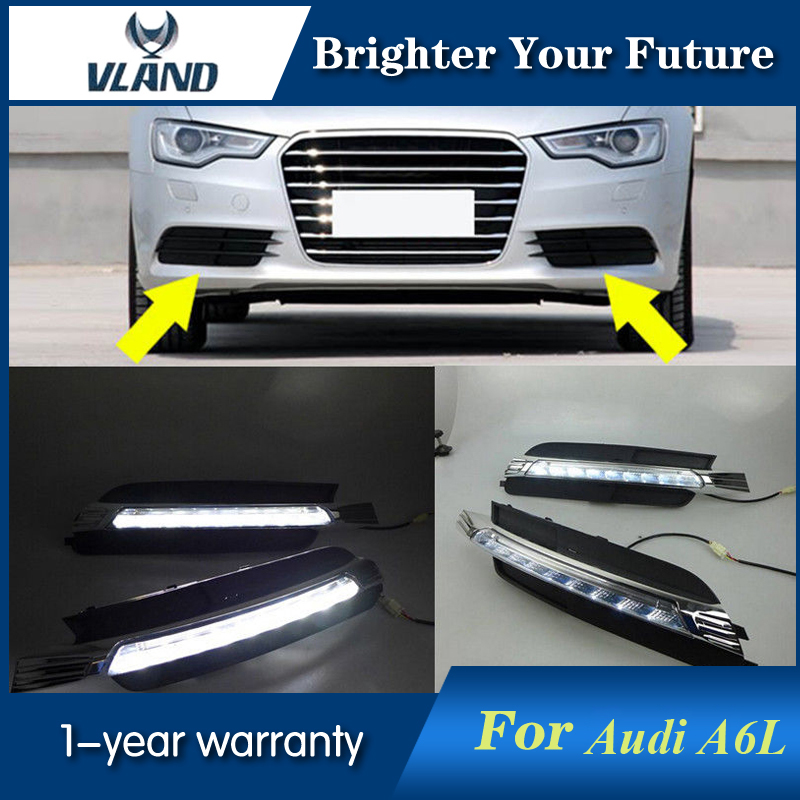 2PCS LED Fog Lamp For Audi A6 A6L C7 2012 2013 2014 2015 White LED Daytime Running Light Waterproof Daylight 12pc canbus car led light bulbs interior package kit for 2012 2014 audi a6 c7 dome glove box trunk license plate lamp white
