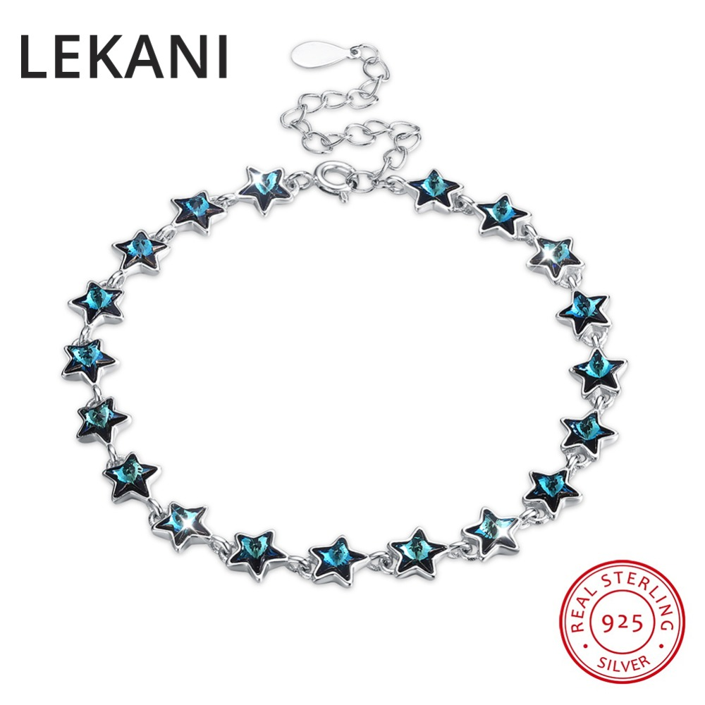 LEKANI Crystals From SWAROVSKI Luxury Stars Beads Charm Bracelet Bangles Genuine S925 Silver Hand Accessories For Women hard plastic car shell for 1 10 rc rock crawler axial scx10 wheelbase 313mm white