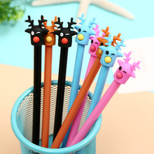 48pcs/pack 0.5mm Black Ink Creative Cartoon Deer Students Gel Pen Unisex Water Sign Christmas