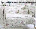 ¡ Promoción! 6 unids cuna bedding set para niñas, de algodón cuna bedding set bebés, roupa de cama, (bumpers + hoja + funda de almohada)