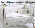 Promotion! 6PCS Baby Cot Bedding Set for Girls,Cotton Crib Bedding Set Babies,roupa de cama ,(bumpers+sheet+pillow cover)