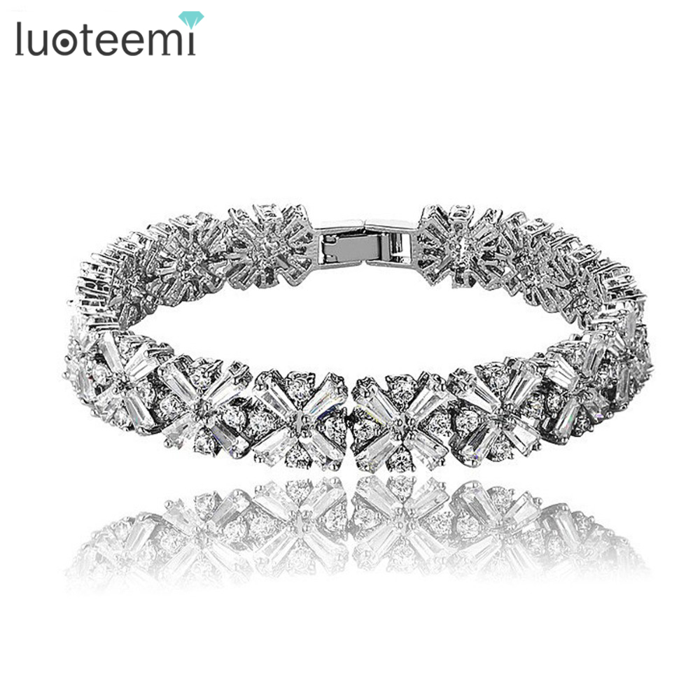 LUOTEEMI Wholesale Clear CZ Stones Cluster Charm Bracelet For Women Fashion Bangle Jewelry