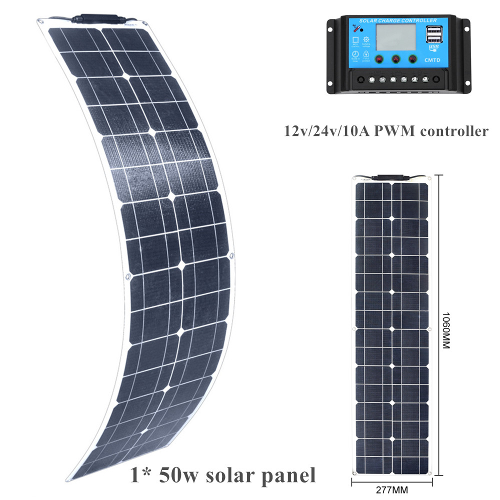 XINPUGUANG 50W Solpanel flexible ETFE Solar Panel system kit  Battery Charger Bwith 12v/24v 10A PWM controller Double USB PortsXINPUGUANG 50W Solpanel flexible ETFE Solar Panel system kit  Battery Charger Bwith 12v/24v 10A PWM controller Double USB Ports