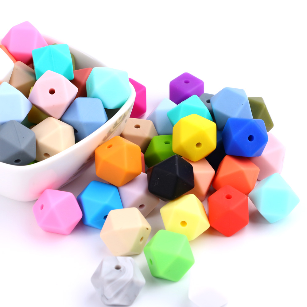 100pc 14mm Mini Hexagon Silicone Teething Bead Baby Sensory Teethers Nursing Necklaces Chewing Beads Supplier
