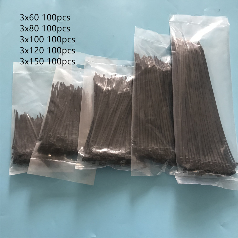 500pcs 3x60 3x80 3x100 3x120 3x150mm Assorted Self-locking Nylon Cable Ties Black Plastic Zip Tie Loop Wire Wrap Zip Ties