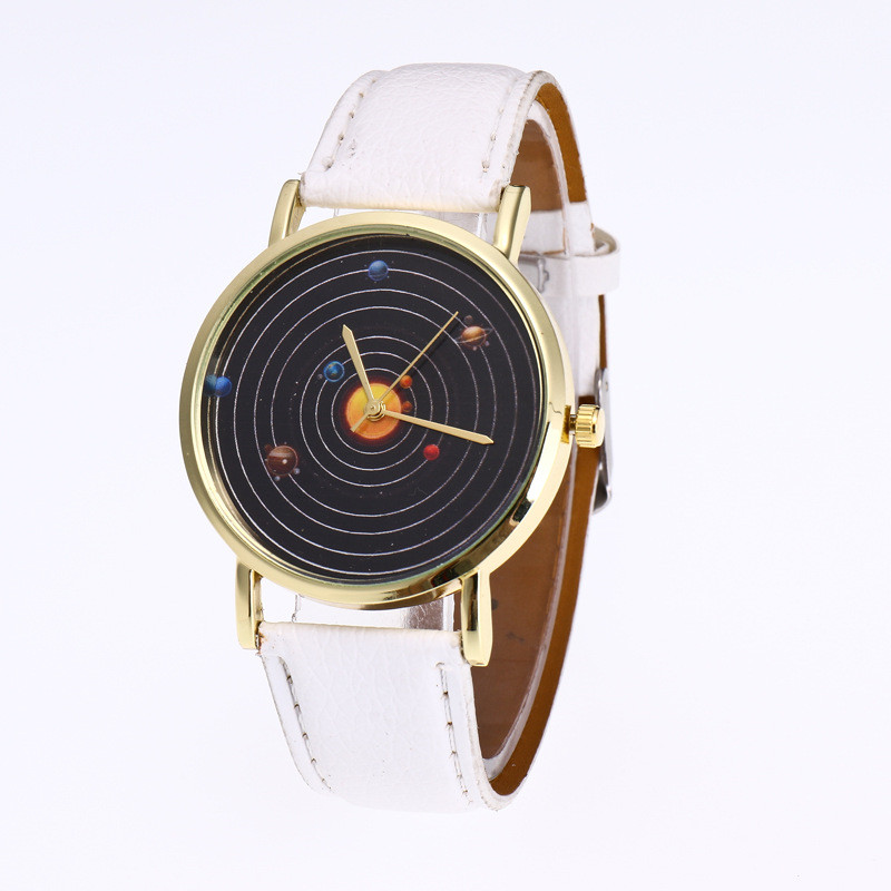New Star Planetary Printing Dial Leather Strap Ladies Quartz Watch Relojes Mujer 2017 Women Watches Horloges Vrouwen Clock 313 wrap bracelet gold dial digital red leather strap ladies luxury quartz watch horloges vrouwen women watches wristwatch megir 382