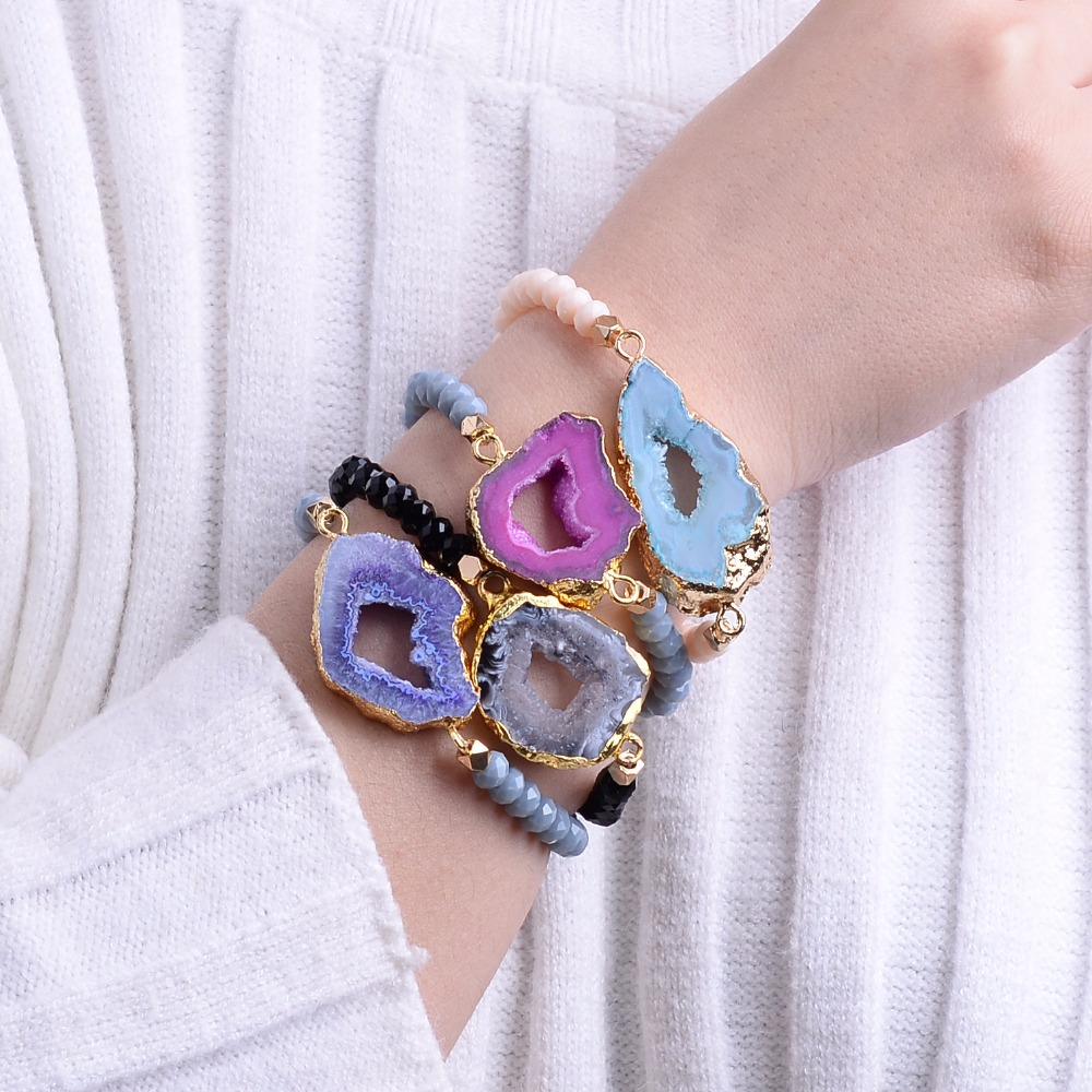 Bojiu Fashion Natural Ag. Druzy Stone Crystal Bead Elastik String Handmade Woman Gelang BC 55