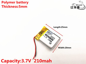 Image 2 - 1pcs/lot 3.7V 210mAH 502025 Polymer lithium ion / Li ion Rechargeable battery for DVR,GPS,mp3,mp4