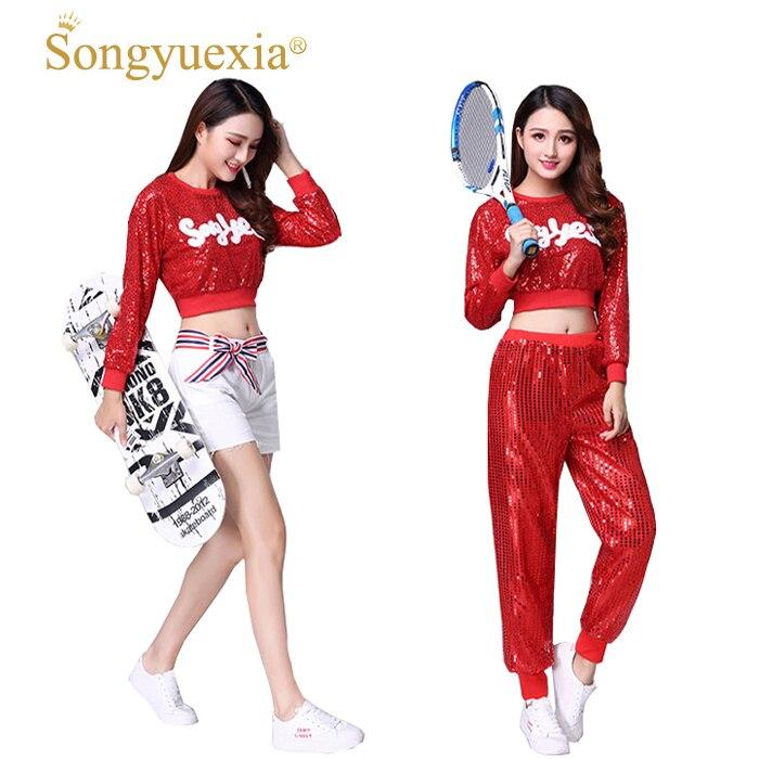 Songyuexia rojo nuevo jazz moderno hip-hop danza mujer Cheerleading etapa trajes  de baile para adultos 3b500cc13d2