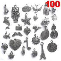 100 Piece Silver Pewter Charms Pendants Mega Mix DIY For Jewelry Making And Crafting
