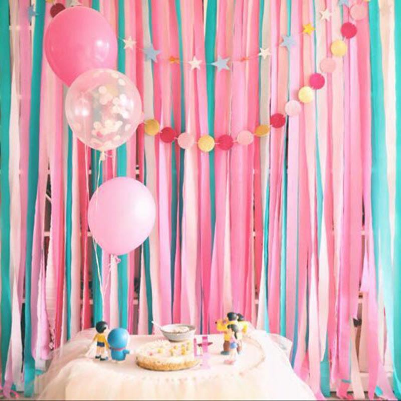 Us 0 95 32 Off 5cmx10m Crepe Paper Diy Paper Craft Tissue Paper Garland Hanging Bunting Baby Shower Birthday Wedding Decoration Paper Streamer In