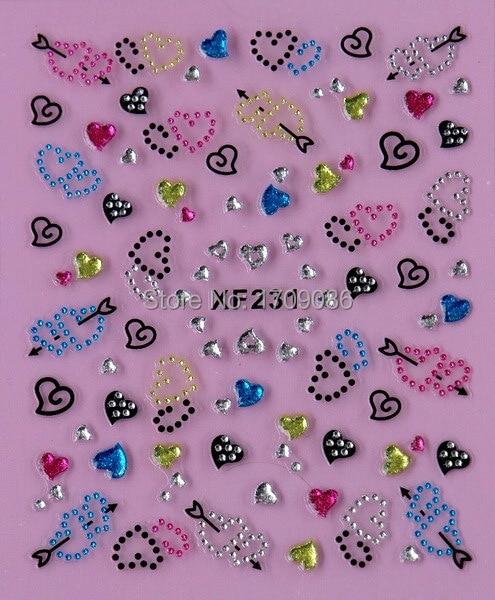 Nail Art Stickers Decal 3D colorido amor corazones Rhinestones decoraciones diseño herramientas de manicura francesa láminas