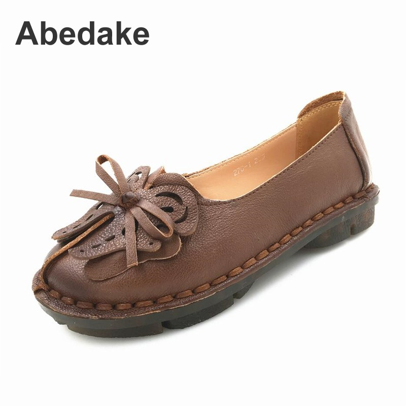 Abedake brand women genuine leather handmade flats women shoes national style soft  spring women casual shoes flats leather shoes handmade shoes spring and summer new style soft genuine leather flats shoes shoes for pregnant women flats