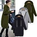 Zanzea inverno casacos 2017 mulheres hoodies jacket plus size s-5xl bolsos com zíper longo casaco de moletom com capuz casuais outerwear