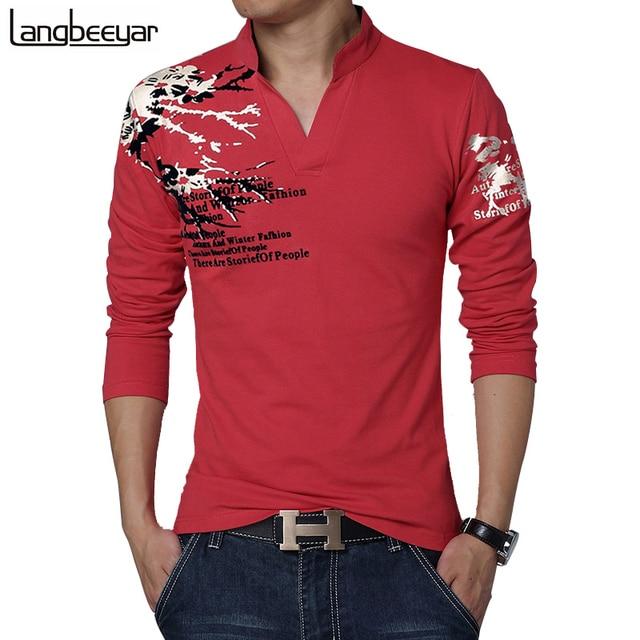 New Fashion Brand Trend Print Slim Fit Long Sleeve T Shirt Men Tee V-Neck Casual Men T-Shirt Cotton T Shirts Plus Size M-5XL